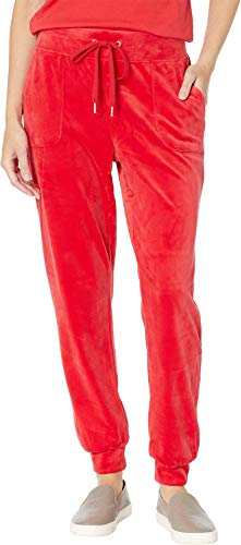 Juicy Couture Women's Glitter Outline Logo Velour Jogger True Red Medium 27