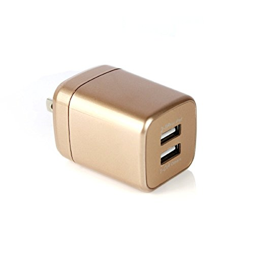 Allytech 2.4A 12W 2-Port Travel Home USB Wall Charger with Foldable Plug For iPhone 7 / 6s / Plus, iPad Air 2 / mini 3, Galaxy S Series, Note Series and Android or USB Devices (Bucket Shape-Gold)