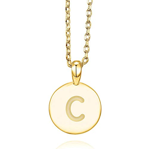 PAVOI 14K Yellow Gold Plated Letter Necklace for Women | Gold Initial Necklace for Girls | Letter C