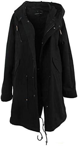 SuaMomente Les Femmes d'hiver Veste Manteau Long et épais Outwear Luxueux Fourrure de Raton Laveur Collier de Fourrure de Lapin Parka à Capuche Doublé