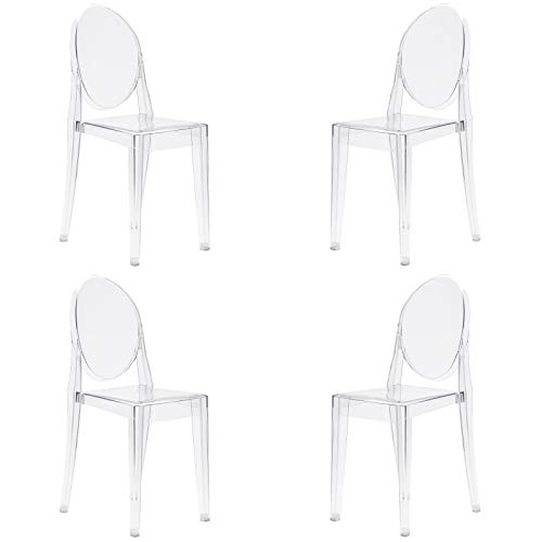 Poly and Bark Burton Side Chair in Clear (Set of 4)