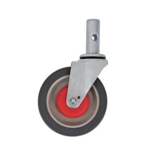 "Swivel Stem Caster Gray Non-Marking 5"" Wheel 1"" Round Stem with 3/8"" Lock Hole"