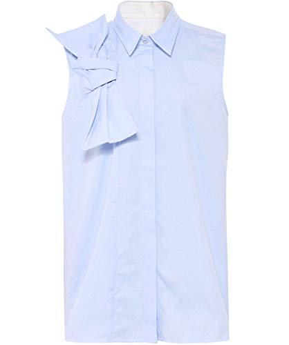 Bleu Oxford Manches De Chemise Beckham Coton Femmes Sans Victoria Bow T87xzx