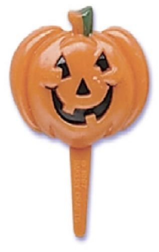 CakeDrake HALLOWEEN Jack O Lantern Orange PUMPKIN (12) Party Cupcake Decoration PICS Picks
