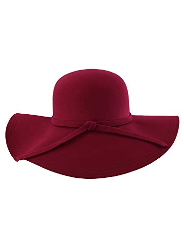 Luxury Divas Burgundy Wide Brimmed Wool Floppy Hat