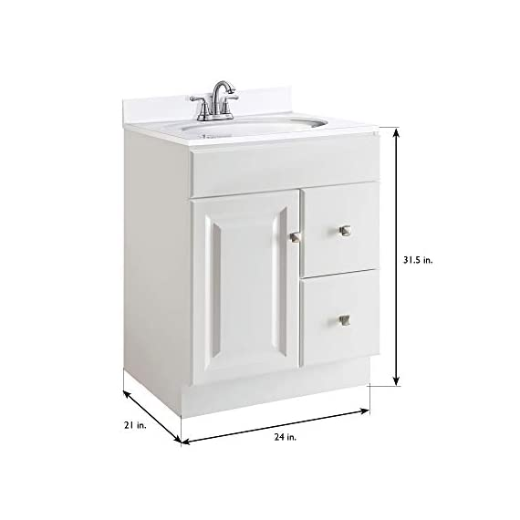 """Design House 545053 Wyndham White Semi-Gloss Unassembled Vanity without Top features 1-Door and 2-Drawers, 24"""" Wide x 31.5"""" Tall x 21"""" Deep - Clean lines and concealed hinges Measures 24-inches wide by 31.5-inches tall by 21-inches deep Modern construction meshes with subtle vintage details - bathroom-vanities, bathroom-fixtures-hardware, bathroom - 31mtPFEgbpL. SS570  -"""