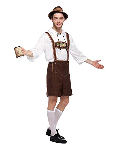 Beauty Moon German Oktoberfest Bavarian Outfit Beer Male Rompers Costume with Cap, Brown and White(Medium)