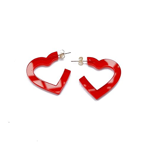 (New Arrival Creative Transparent Acrylic Material Exaggerated Heart Shape Candy Colors Women/Girl's Charm Earrings Ear Studs(3cm) (Red(3cm)))