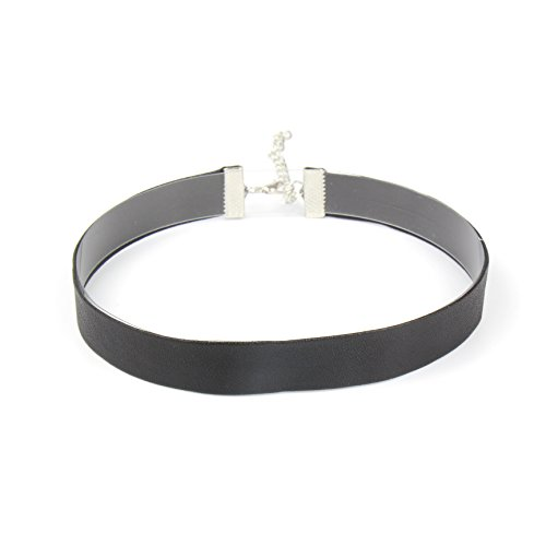 CHOKER LAND Classic Simple Soft Leather Choker Band (Black) | Trendy, Comfort Fit, Hypoallergenic, Stylish for Women and Girls of All Ages