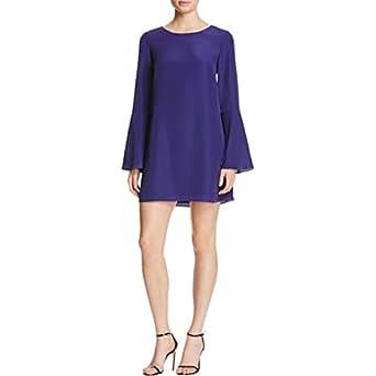 LaRok Womens Chiffon Bell Sleeve Cocktail Dress Purple 0