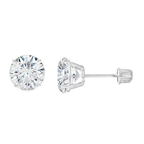 Ioka - 14K White Gold Round Solitaire Cubic Zirconia CZ Stud Screw Back Earrings - 0.75ct (6mm)