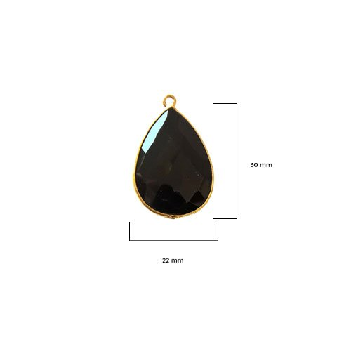 2 Pcs Black Onyx Pear 22X30mm by BESTINBEADS I Black Onyx Stone I Black Onyx Pear Pendant I Pear Pendant Gold I Bezels Connectors I Black Onyx Pear Pendant Gold - Onyx Mm Black 30