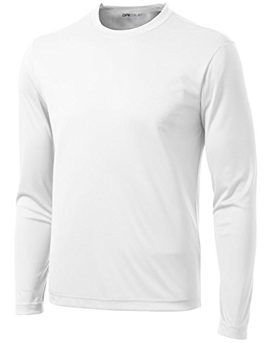 DRI-Equip Tall Long Sleeve Moisture Wicking Athletic Shirt-White-4XLT