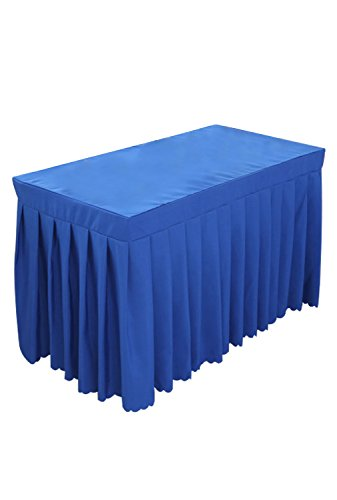 (Tina 4' ft Polyester Fitted Tablecloth Table Skirt for Wedding Banquet Trade Show Sapphire)
