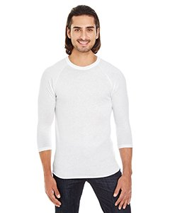 American Apparel BB453W Unisex Poly-Cotton 3/4-Sleeve Raglan T-Shirt White L