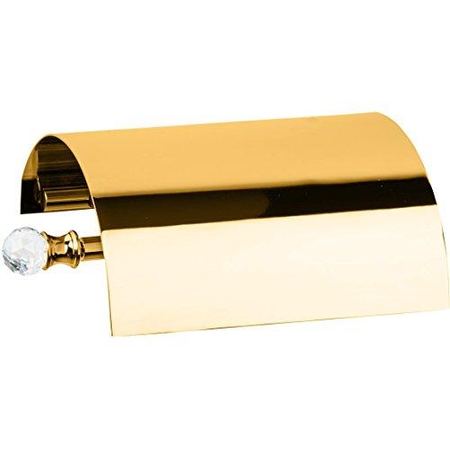 Lux Bath Collection Lux Madras Swarovski Wall Toilet Paper Holder Tissue Dispenser With Lid, Brass (Polished (Madras Tissue)
