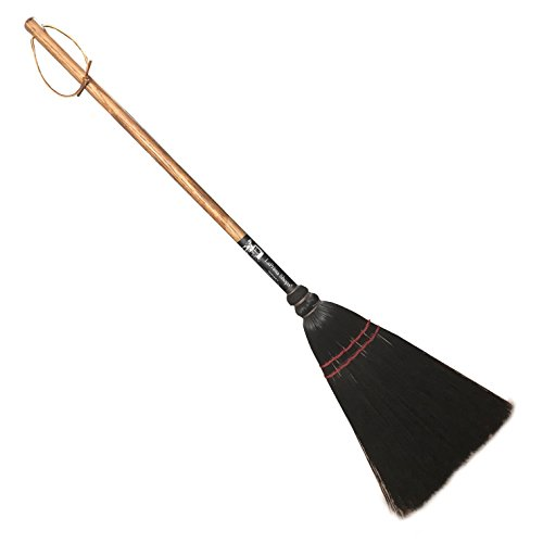 Authentic Hand Made All Broomcorn Broom, Short Handle Small Broom Head (34-Inch/Utility Black/Oak Handle) (Fireplace Brooms)