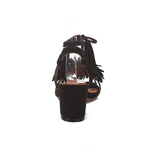 Noir Ouvert Bout ASL05020 BalaMasa Femme XqwI81f