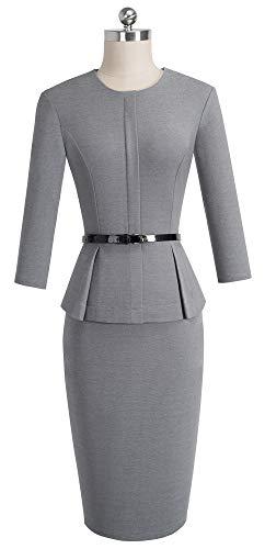 homeyee womens 34 sleeve office wear peplum dress with