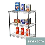 18''d x 30''w Chrome Wire Shelving with 3 Shelves