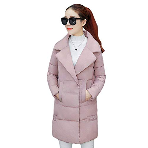 Solidi Sciolto Invernali Calda Piumini Grazioso Invernale Lunga Termico Trapuntata Rosa Colori Manica Casuale Lunga Donna Piumino Bavero Giacca Outdoor Parka Moda nxFPn0