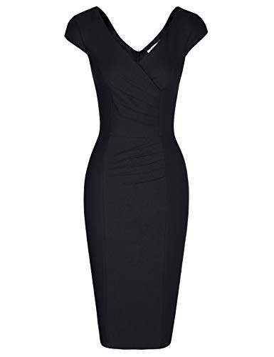 MUXXN Ladies Celebrity Vintage Cap Sleeve Tea Length Special Occasion Dress (Black XL)