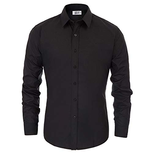 Men's Classic Fit Non-Iron Herringbone Point Collar Dress Shirt Black S
