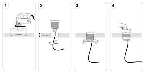 230.00V Presa a scomparsa per cucina ufficio 2 prese USB con cavo 1,4 m Argento IP20 max 3.600 Watt colore grigio blocco di 3 prese Schuko pratico posizionamento a 360/° degli slot sul piano di lavoro e scrivania 230 V CA
