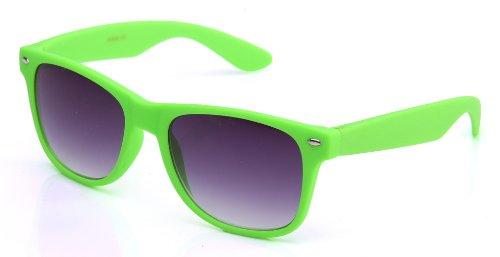 Vintage Wayfarer Style Retro Neon Color Ocean Colored Lens Matching Rubber Touch Sunglasses in - Green Wayfarer Sunglasses Neon