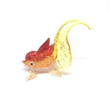 Studio one Handmade Animal Figurine Art Glass Blown Gold fish Lucky Fish Figurine Collection Best Gift by Studio one