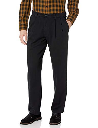 Dockers Men's Classic Fit Easy Khaki Pants - Pleated D3, Black (Stretch), 38 29
