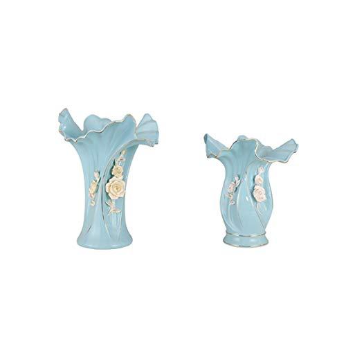 Vase Kim - Xingganglengyin Ceramic Vase Crafts Ornaments Home Kimchi Gold Living Room Study Room Decoration Wedding Gifts (Color : Blue, Size : M)