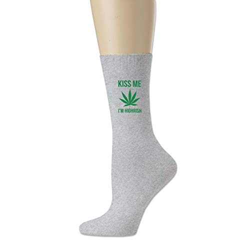 Women High Ankle Cotton Crew Socks Kiss Me Weed Casual Sport Stocking