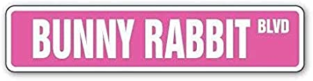 New Plastic Road Sign Great Bunny Rabbit Street Sign Easter White Lover cage Hare for Outdoor /& Indoor 3x9 Inch