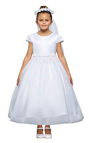 (iGirldress White Flower Girl First Communion Pageant Wedding Birthday Dress KD460 Size)