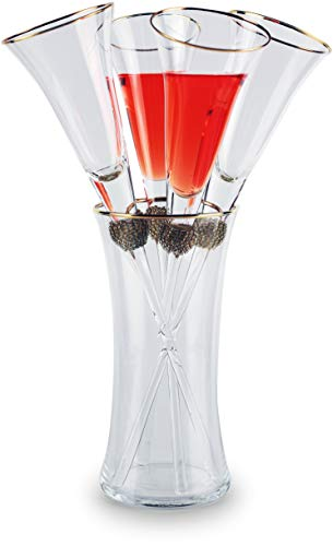 Circleware Champagne Gold Rim Flute with Rhinestone Accents and Gold Rim Vase, 5 Piece Jazzy Collection Set, 5.6 Oz, 22.9 Oz.
