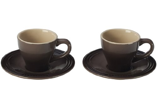 Le Creuset Stoneware Set of 2 Espresso Cups and Saucers, Truffle
