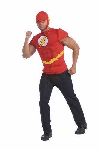 Muscle Chest Flash Adult Costumes (The Flash Muscle Chest Top with Mask, Red, Standard)