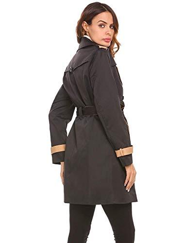 Fit Mode Double Cintura Marca Autunno Business Slim Lunga Windbreaker Giacca Eleganti Donna Cappotto Inclusa Primaverile Outerwear Di Breasted Moda Schwarz Trench Bavero Manica twzapRxP