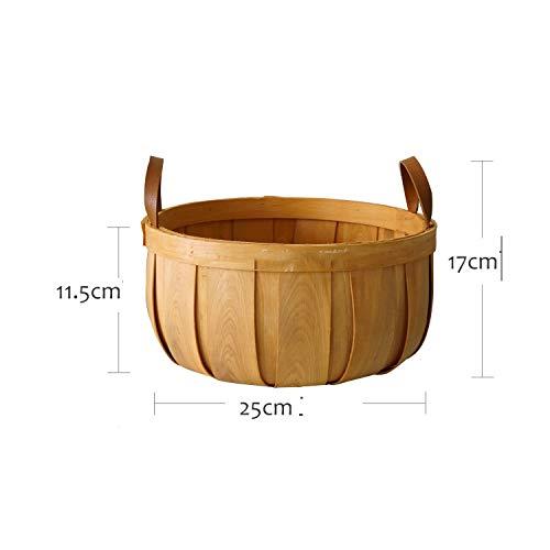 Creative Rural Fruit Basket Picnic Basket Pumpkin Shape Wooden Basket Sen Kitchen Storage Decorative Ornaments Wicker Basket,C (Crossword Clue Wicker Basket)