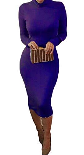 Jaycargogo Femmes À Col Roulé À Manches Longues Mince Robe Midi Crayon Tunique Moulante En Forme Bleu