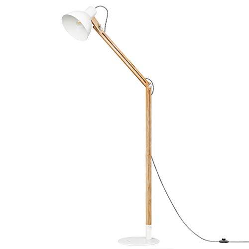 Tomons houten vloerlamp, staande lamp, elegante designer leeslamp, verstelbare lampenkap, wit