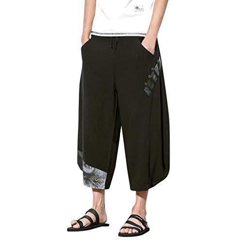 Transser- Men's Baggy Harem Boho Print Pants, Loose Comfy Linen Casual Slim Trousers Black ()