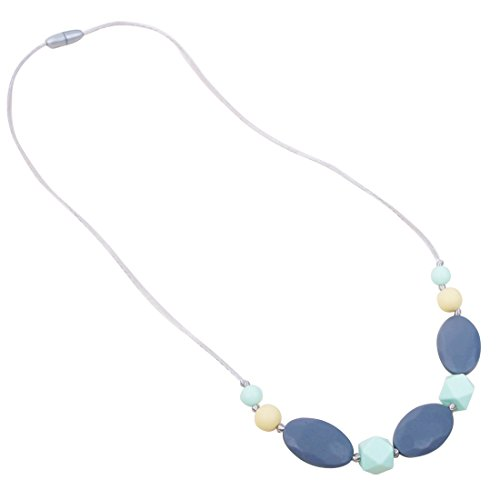 JET-BOND FS11-6 Silicone Teething Toy Necklace Mom Wear Size Turquoise Gemstone Like Nursing Jewelry Long Chain Safe BPA Toxic Free Food Grade (2828 gray) (Turquoise Gum Gems compare prices)