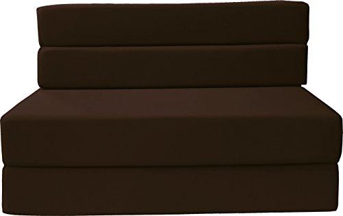 D&D Futon Furniture Folding Foam Mattress, Sofa Chair Bed, Guest Beds (Full Size, Brown)