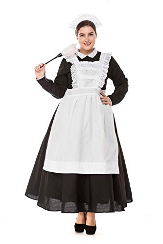 Women's Plus Size Cafe Maid Dress Cosplay Costumes Oktoberfest Carnival Halloween (XXX-Large) -