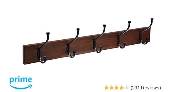 Amazon AmazonBasicsWall Mounted Coat Rack Light Walnut Home Gorgeous How To Mount A Coat Rack On The Wall