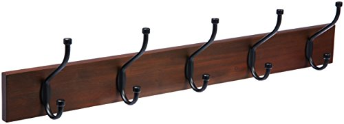 Five Coat Rack Hook - AmazonBasics-Wall Mounted Coat Rack - 5 Standard Hook, Light Walnut