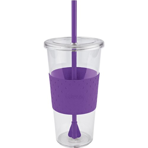 Copco Sierra Cold Tumbler with Straw, 24-Ounce, Purple (Mug Textured Plastic Travel)