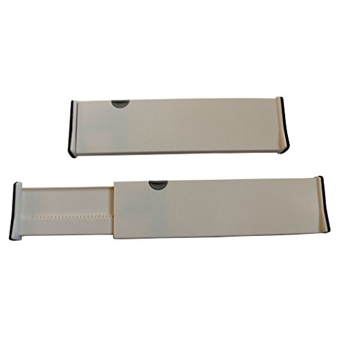 2 Adjustable Plastic Drawer Dividers Storage Organizers by Kurtzy - White Expandable Deep Drawer Divider System - Clutter Free Kitchen Bathroom Bedroom Office Dresser Desk Drawers Drawer Organizer Set